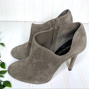 Sole Society Grey Vegan Suede Ankle Cut Out Heels